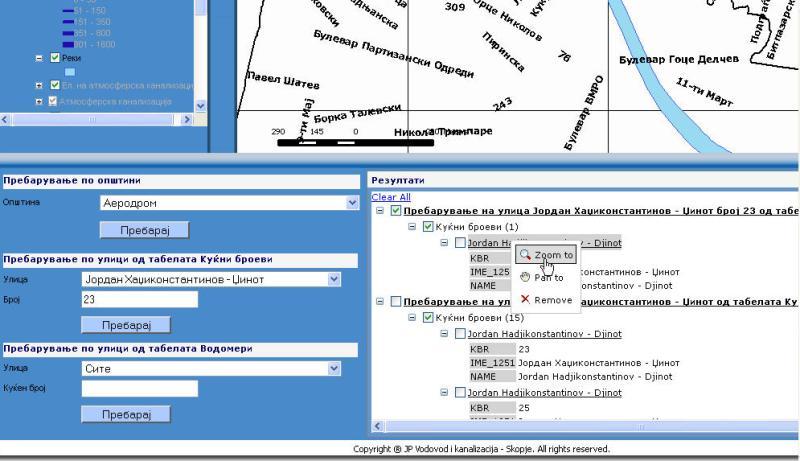 Water GIS Viewer - Zoom menu